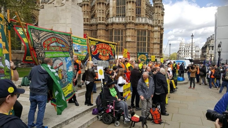 Scores of people attended the RMT rally outside parliament