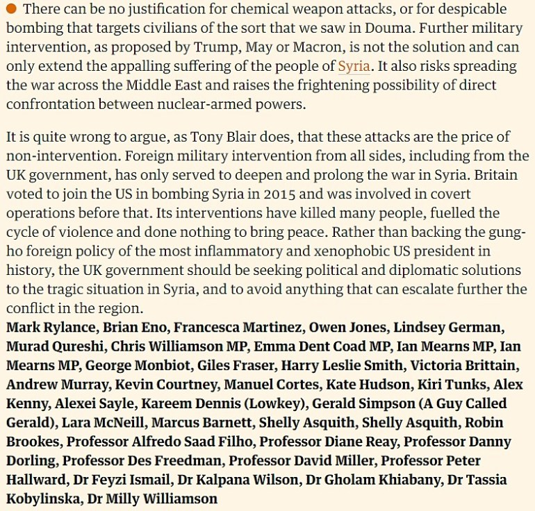 Stop the War Coalition letter in the Guardian