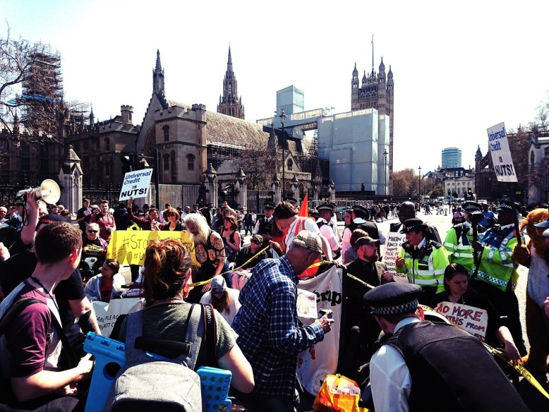 There were chaotic scenes outside parliament