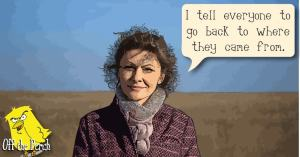 """A cartoon Tory MP saying: """"I tell everyone to go back to where they came from."""""""
