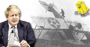 A disgruntled-looking Boris Johnson and a crashed bi-plane