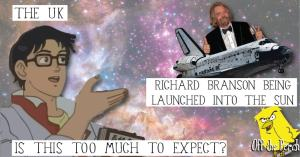 A meme-like image of Richard Branson being launched into the sun
