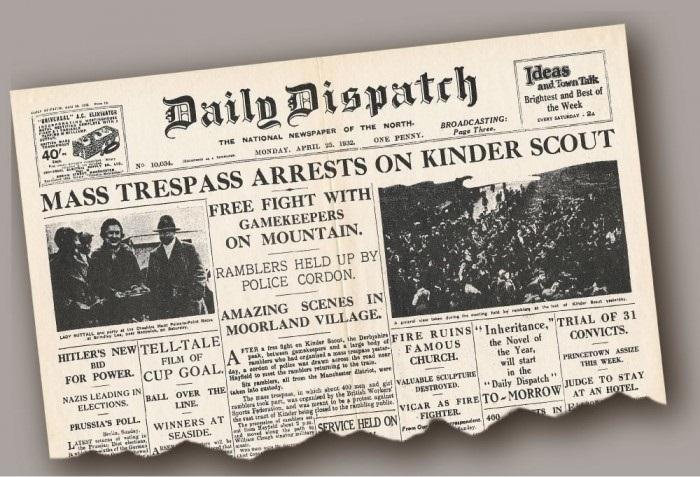 A newspaper headline of the Mass Trespass