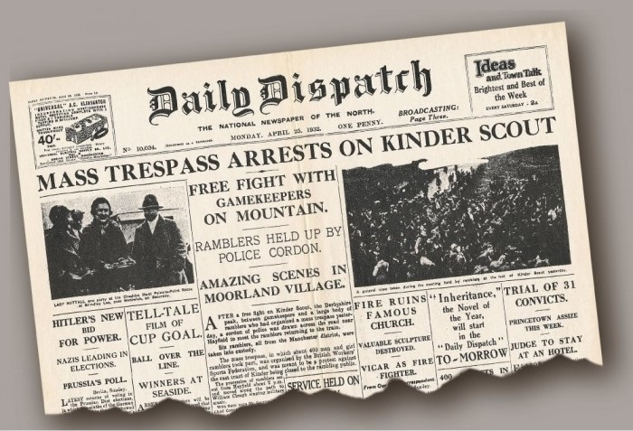 A newspaper headline of the Mass Trespass