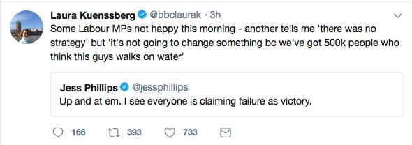 Laura Kuenssberg shares Jess Phillips tweet