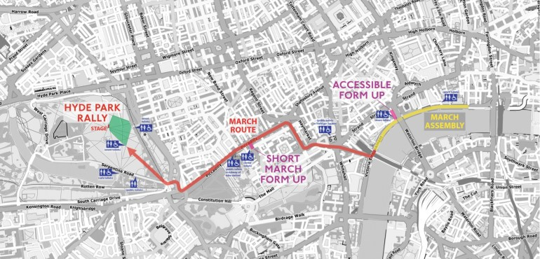 The route of the TUC march