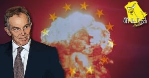 Tony Blair with an explosion and the EU flag behind him