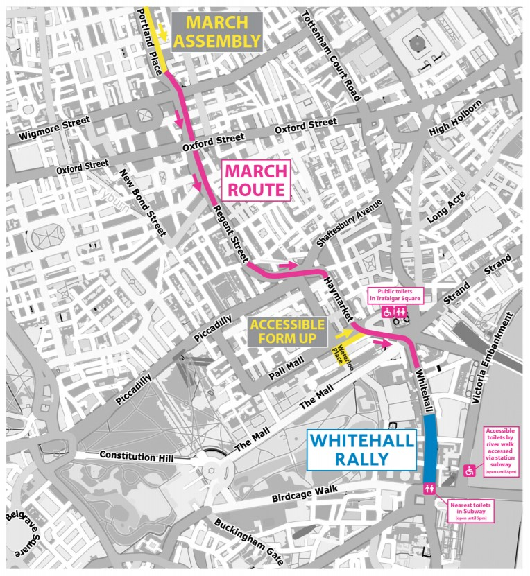 Map of the Our NHS march route