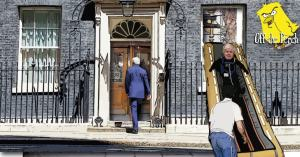 10 Downing Street with a revolving door and escape slide