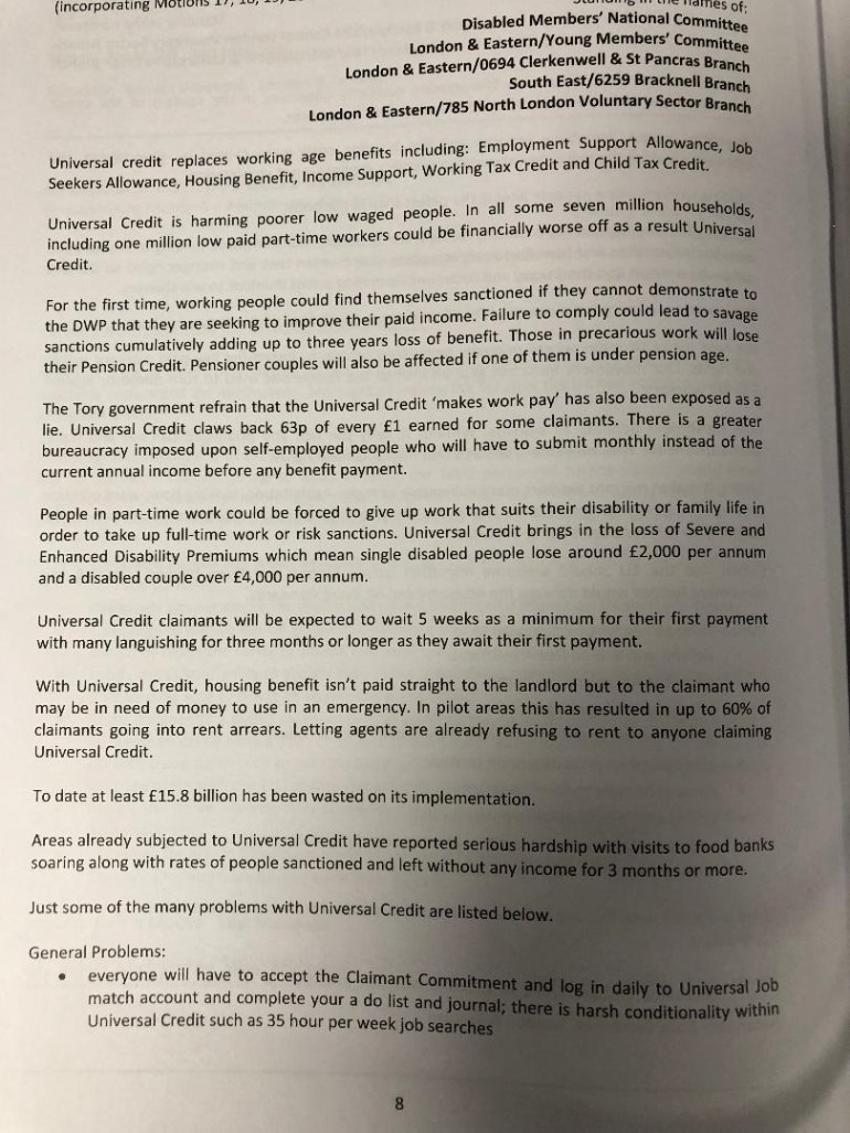 Universal Credit Unite motion page one