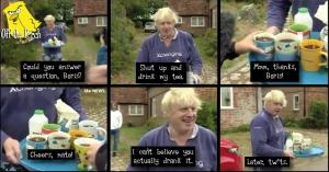 Boris Johnson giving tea to journalists outside his house