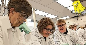 Scientists looking at something