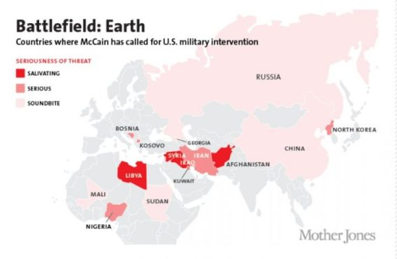 13 countries John McCain wanted to bomb, invade or destabalise