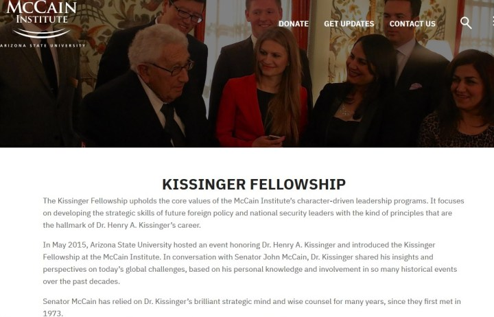 McCain institute set-up a Kissinger Fellowship