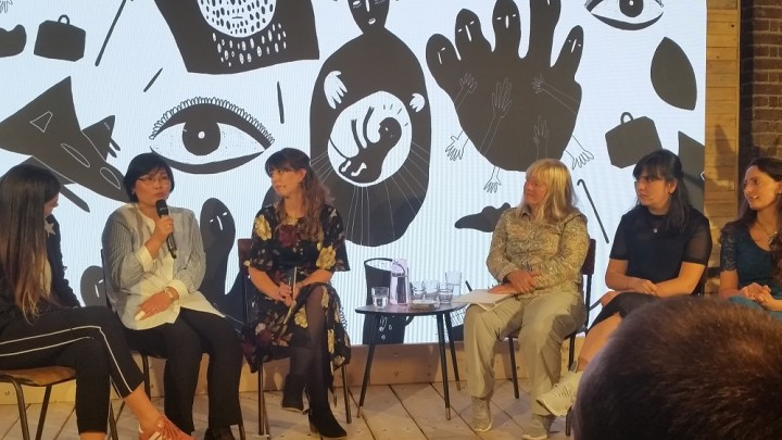 Panel of experts and refugees speaking at Lush event about refugees' voices 1000 x 562
