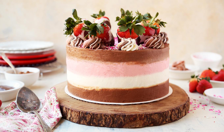 Chocolate-Dipped Strawberry Neapolitan Cake