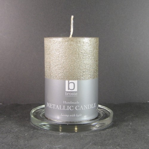 Broste Candles 10cm X 7cm Champagne Gold Rustic Pillar Candles