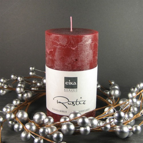 Eika Candles Burgundy Wine Red Solid Colour Rustic