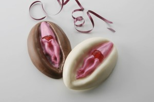 Dark and White chocolate vagina with cherry