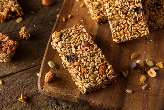 macro shot of Raw Organic weed Granola Bars with Seeds and Nuts
