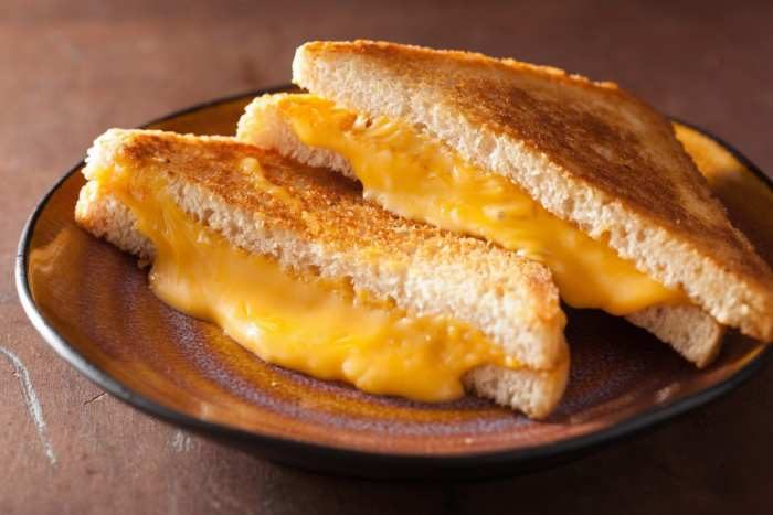 weed grilled cheese on a brown plate with cheese oozing out the sides of the grilled cheese