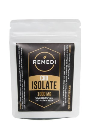 A package of CBD isolate used to make CBD coffee. The plastic package is from a brand called Remedi.