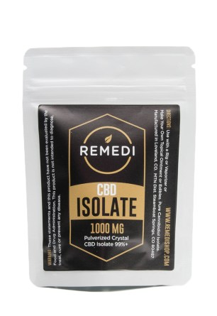 CBD isolate used to make CBD tea. The isolate comes in a plastic package from the brand Remedi.