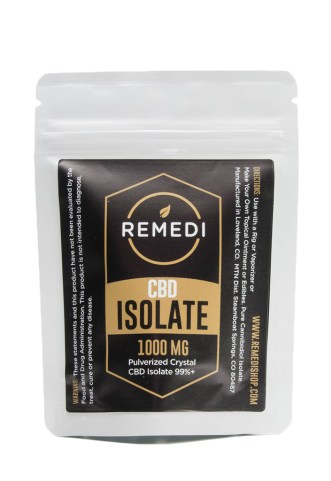 CBD isolate used to make infused sugar. The isolate comes in a plastic bag from the brand remedi.
