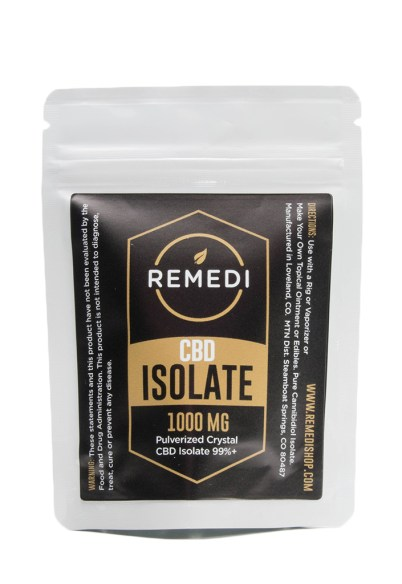 cbd isolate used to make cbd honey. Comes in a plastic package from a company called remedi.