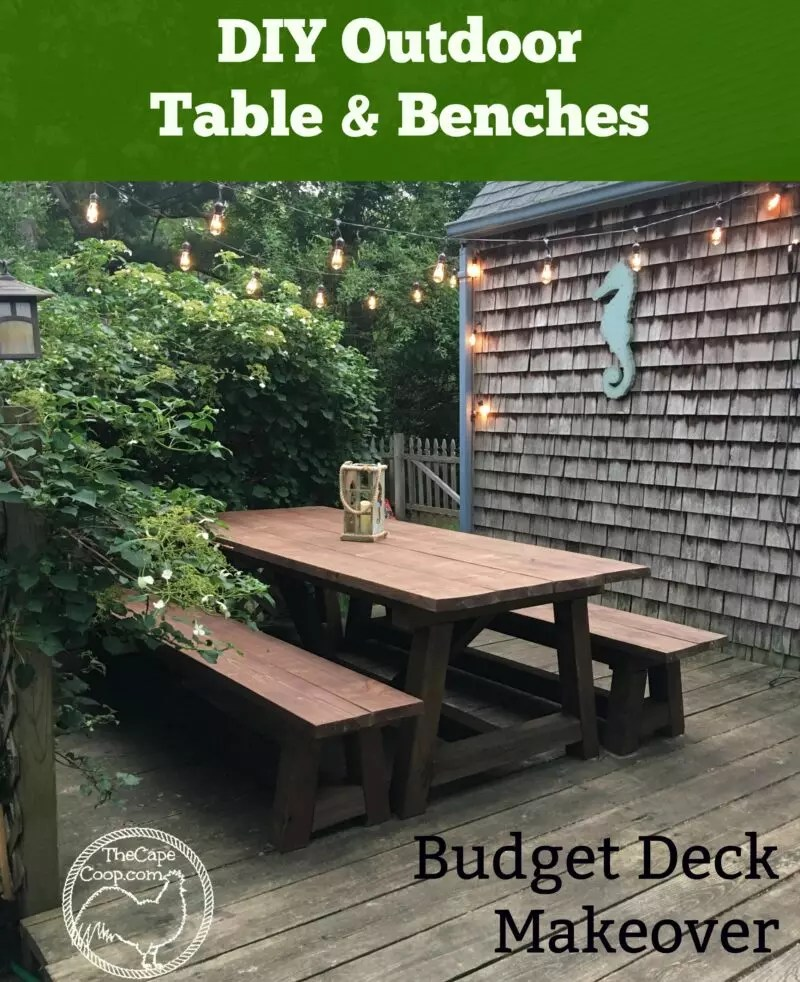 diy table benches budget deck makeover the cape coop