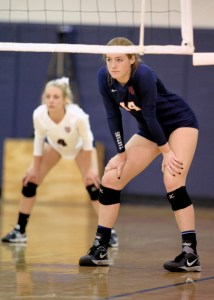 Junior libero/outside hitter Gracyn Beck readies for a serve during a St. Margaret's volleyball match. Photo: Courtesy