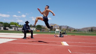 Trenten Merrill jumps at the Elite Athlete Training Center in Chula Vista. Merrill was a 2016 Paralympian in long jump and looks to take gold in 2020. Photo: Courtesy Trenten Merrill Athletics