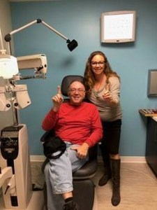 Dr. Michelle Ahumada and her first patient, her father. Photo: Courtesy of What A Spectacle Optometry