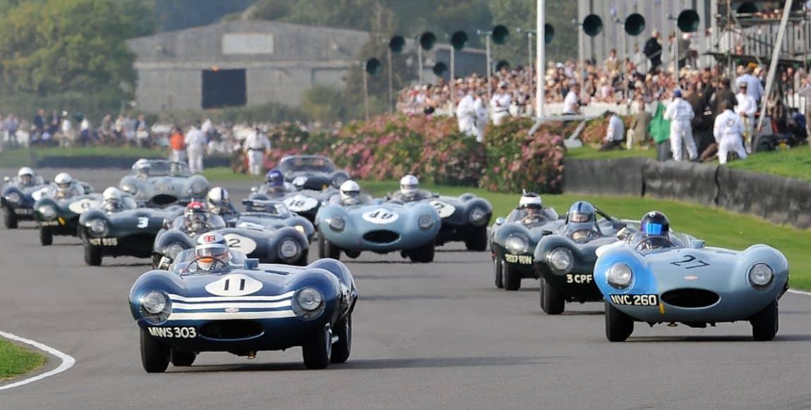 Jaguar D-Types racing at the 2014 Goodwood Revival