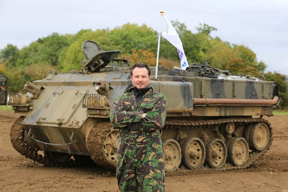 The Car Expert, posing heroically in from of an FV432 armoured personnel carrier