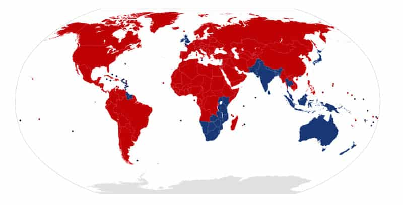 Map of the world showing Left Hand Drive (LHD) countries which drive on the right in red and Right Hand Drive (RHD) countries which drive on the left in blue
