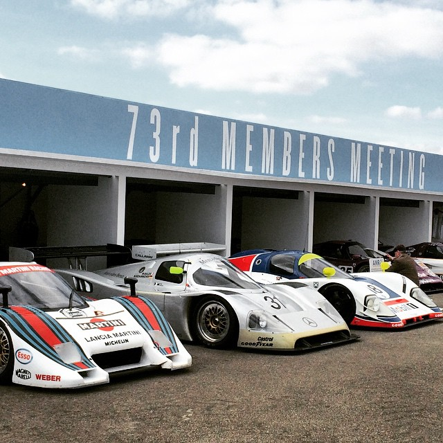Lancia LC2, Sauber-Mercedes C11 and Aston Martin AMR1 line up in the paddock at the 73rd Goodwood Members' Meeting