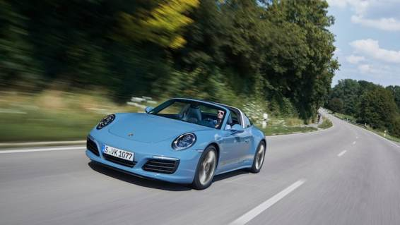 Porsche 911 Targa 4S Exclusive Design Edition on the road