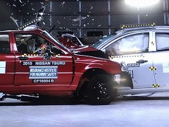 Nissan Versa vs Nissan Tsuru in a car-to-car crash test arranged by Global NCAP