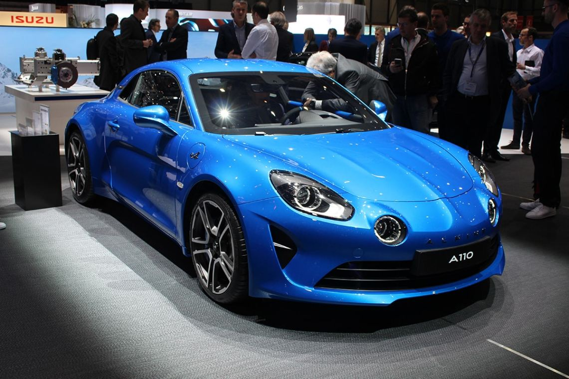 Blue Alpine A110 on display at the Geneva Motor Show