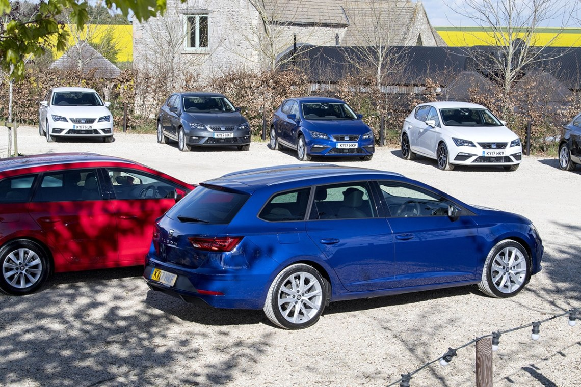 SEAT Leon ST in car park at press launch