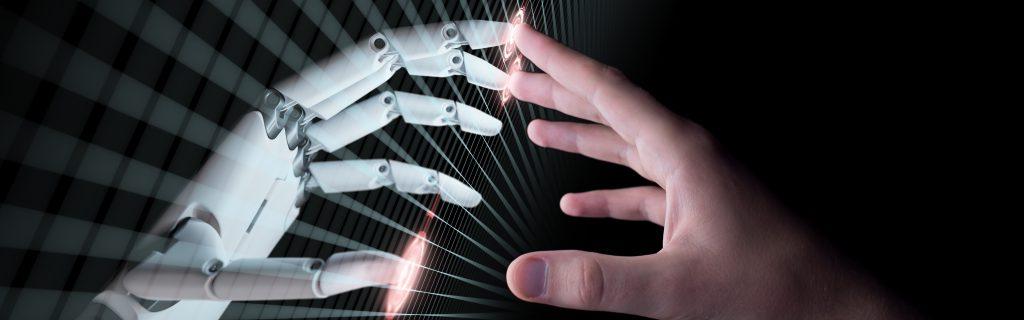 hand met robothand