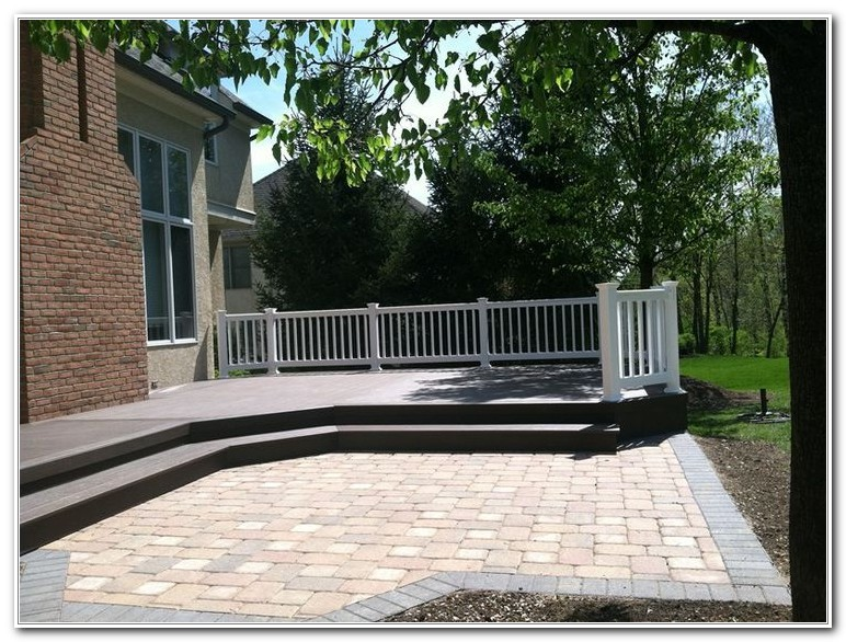 Wood Deck And Stone Patio Combination  Decks  Home