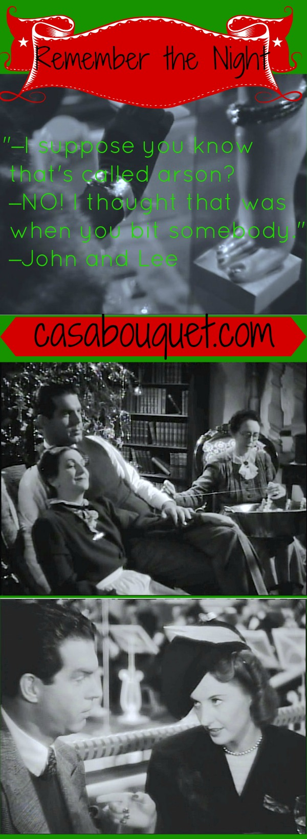 Barbara Stanwyck and Fred MacMurray travel cross country in a Preston Sturges holiday romantic comedy. From Lisa's Home Bijou: Remember the Night (1940)