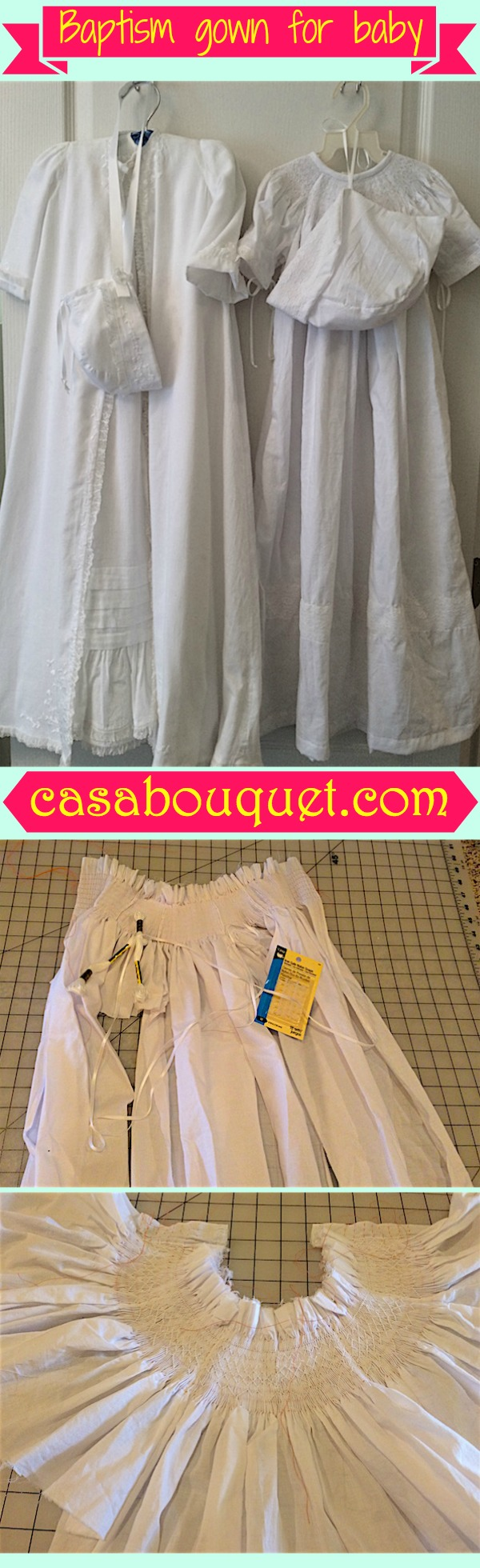 A baptism gown for a baby makes a baptism or christening extra special. Smocking an heirloom bishop style is loose fitting.