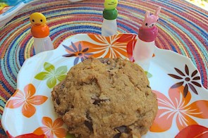 Dark chocolate chip cookies with orange, oatmeal, walnuts