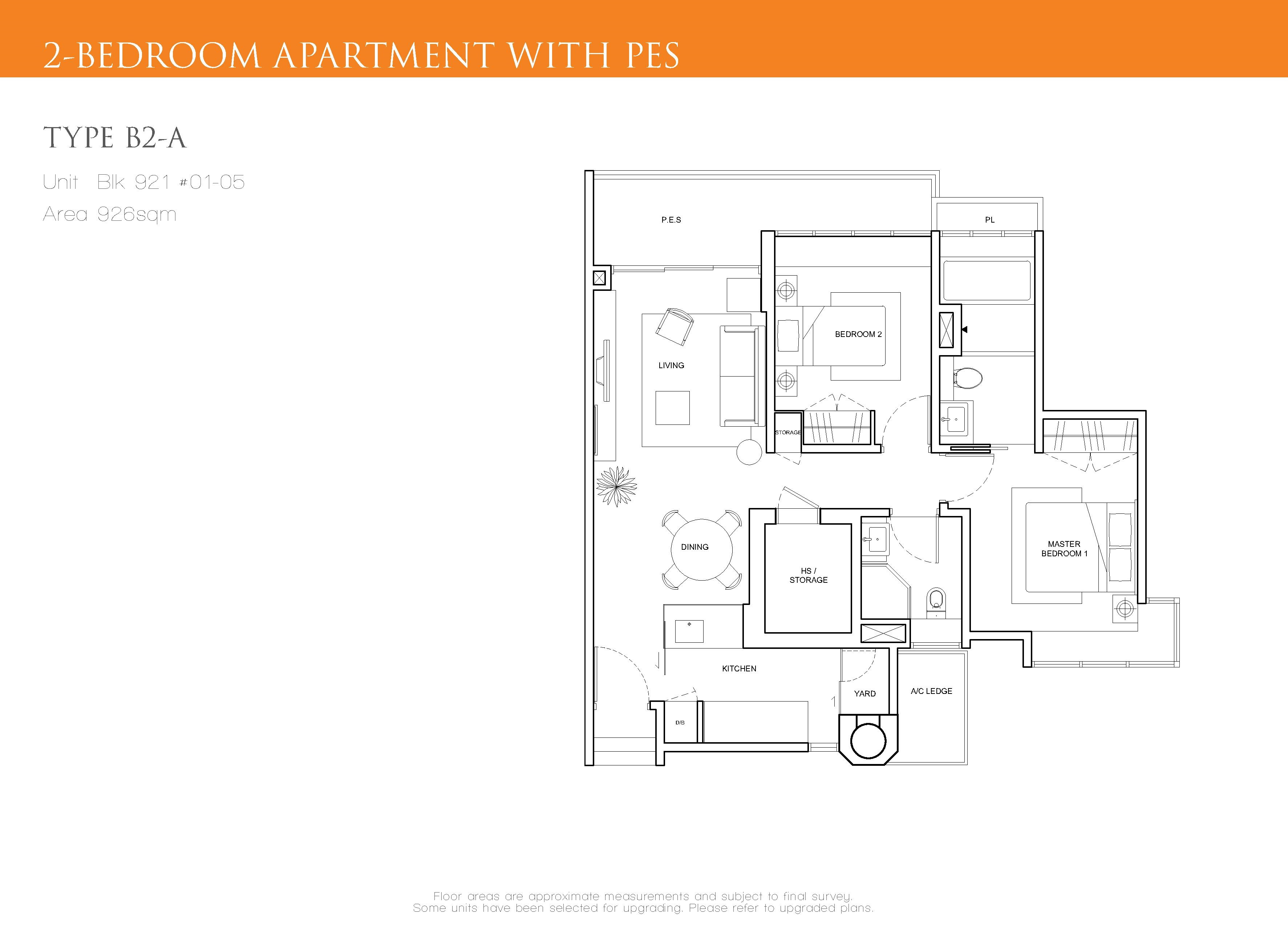 The Cascadia 2 Bedroom PES Floor Plan Type B2-A