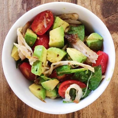 Too much yummy in this bowl!  Avocado & cherry tomato with salt, pepper, evoo & acv.... & Pulled pork (the 10lb shoulder didn't fit in my dutch oven, so I seared & slow roasted it- ah-mazing).