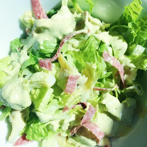 Light & late lunch today:  Chopped romaine, artichoke hearts, hard salami, creamy basil dressing! Presto!
