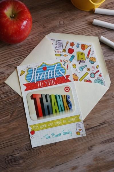 Printable Teacher Gift Card Holder